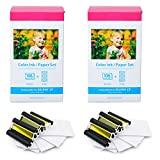 GREENCYCLE 2 Pack for Canon KP-108IN Ink Paper Set 3 Color Ink Cassette and 108 Sheets 4 x 6 Paper Glossy For SELPHY CP1300 CP1200 CP910 CP900 CP760 CP770 CP780 CP800 Wireless Compact Photo Printer