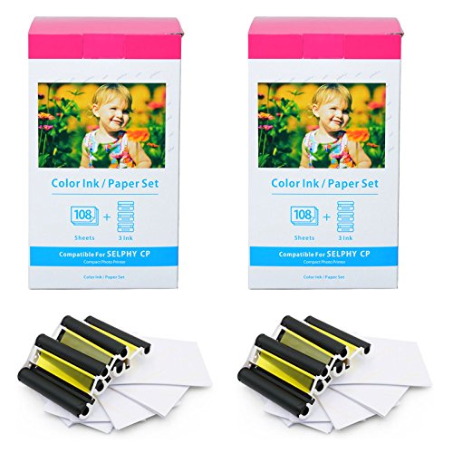 (GREENCYCLE 2 Set Compatible KP-108IN Ink/Paper for Canon SELPHY CP1300 CP1200 CP800 Wireless Compact Photo Printer, 108 Sheets 4 x 6 Paper Glossy and 3 Color Ink Cassette (Produces up to 108 Sheets))