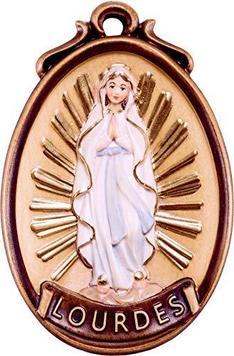 Ferrari-Arrighetti-Medallon-Virgen-de-Lourdes-Tallado-en-Madera-y-Pintado-a-Mano-6-cm-de-Alto-Demetz-Deur