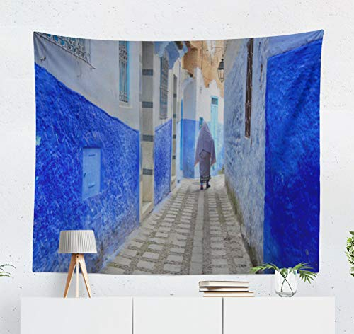 KJONG Blue Morocco Moroccan Africa Ancient Architecture Beautiful City Decorative Tapestry,50X60 Inches Wall Hanging Tapestry for Bedroom Living Room ()