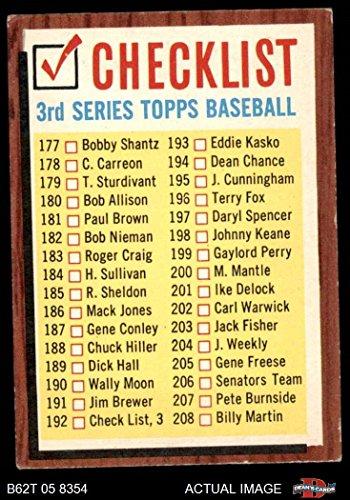 1962 Topps # 192 COM Checklist 3 (Baseball Card) (Has Comma, says #192 Check List, 3) Dean's Cards 3 - VG
