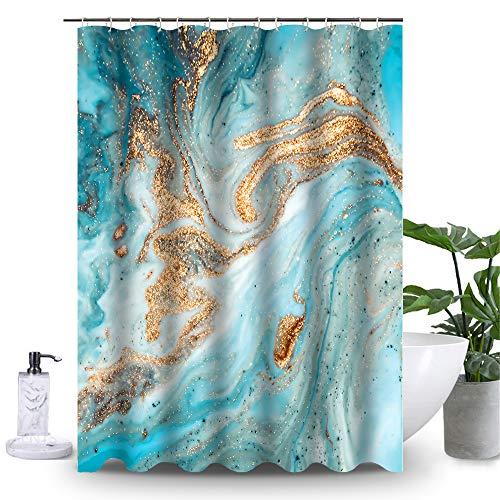 Uphome Marble Bathroom Shower Curtain, Heavy Duty Gradient Blue-Green Fabric Shower Curtain for Bathtub Showers, 3D Crack Design Decorative Brick Bathroom Accessories (72
