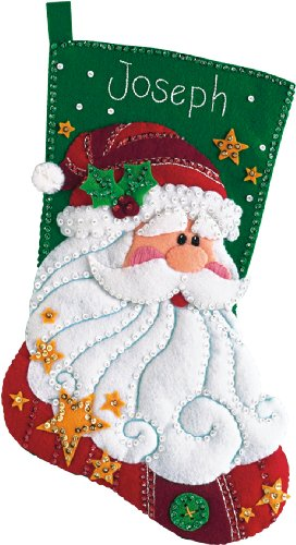 Dimensions Sequined Santa Stocking