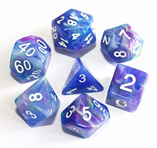 HD Dice-DND Polyhedral Dice Set RPG Jade Dice for Dungeons and Dragons D&D Pathfinder Role Playing Games Table Games Marble Dice Purple Blue Mix White Gemstone ()