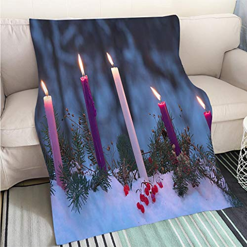 Luxury Super Soft Blanket Advent Candles Christmas Eve Prophecy Love Joy Peace Purity Perfect for Couch Sofa or Bed Cool Quilt