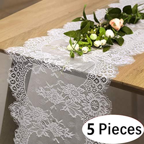 SoarDream White Lace Table Runner 14