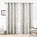 "bohemian living room DriftAway Mackenzie Thermal/Room Darkening Grommet Unlined Window Curtains, Blossom Floral Pattern, Living Room, Bedroom, Energy Efficient, Set of Two Panels (Blue/Gray, 52""X84"")"