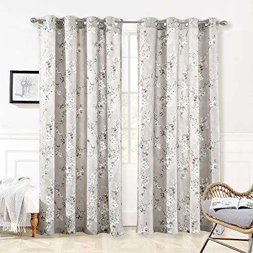 DriftAway Mackenzie Thermal Room Darkening Grommet Unlined Window Curtains Blossom Floral Pattern Living Room Bedroom Energy Efficient 2 Panels 52 Inch by 84 Inch Blue Gray
