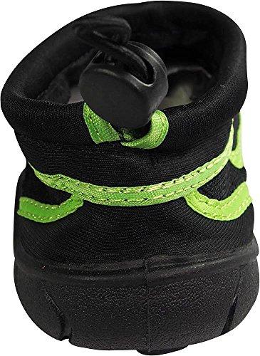 Scarpe Acqua Norty Mens Aqua Sock Wave - 10 Combinazioni Di Colori - Slip-on Impermeabili Per Piscina, Spiaggia E Sport Nero / Lime
