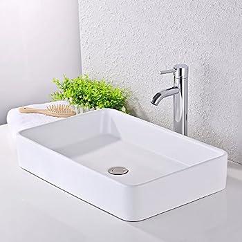 KES Bathroom Sink, Vessel Sink 24 Inch Porcelain Rectangular White Above  Counter For Lavatory Vanity