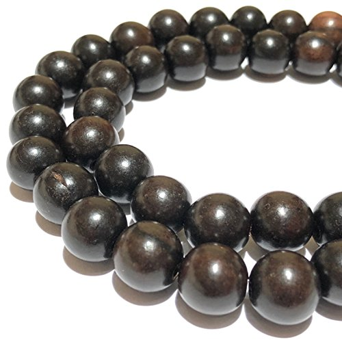 ([ABCgems] Rare Dark Kamagong Tree Ebony Hardwood (Prime Cut from Center of Wood) 8mm Round Wood Beads for Beading & Jewelry)