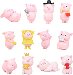 12 Pcs Pig Figures for Kids, Animal Toys Set Cake Toppers, Fairy Garden Miniature Pink Piggy Figurines Collection Playset for Christmas Birthday Gift Desk Decorations