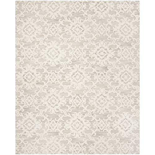 Safavieh Blossom Collection BLM104A Grey and Ivory Floral Vines Premium Wool Area Rug (8' x 10')