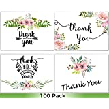100 Thank You Cards Bulk- Wedding Thank You Cards, Baby Shower Thank You Cards, Blank Cards with Envelopes, Thank you Notes, Bridal Shower, Baptism, Gift Cards, Graduation, Sympathy, Business, Floral