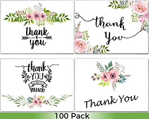 100 Thank You Cards Wedding - Bulk Thank You Cards, Baby Shower Thank You Cards, Blank Cards with Envelopes, Thank you Notes, Bridal Shower, Baptism, Gift Cards, Graduation, Sympathy, Business, Floral - Girl Envelope Seals