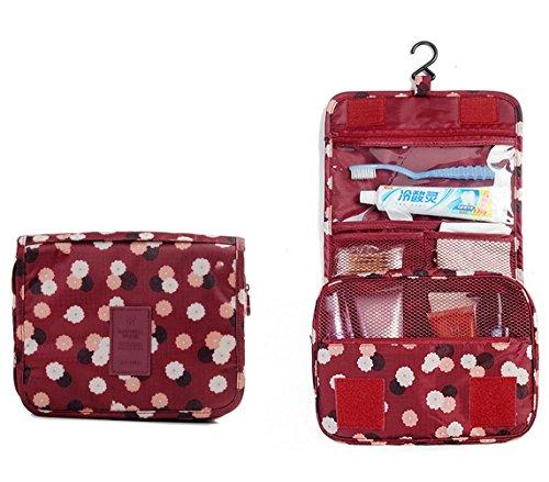 [Marosoniy Hanging Toiletry Bag- Travel Personal Organizer Cosmetic Make up Bag for Women Makeup or Men Shaving Kit with Hanging Hook for Business or Leisure Travel Polka Dot Red] (Justice Makeup Kit)