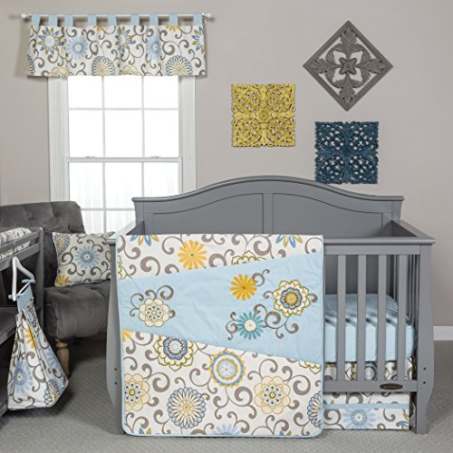 Trend Lab Waverly Baby Pom Pom Spa 4 Piece Crib Bedding Set, Blue/Cream/Green/Gray ()