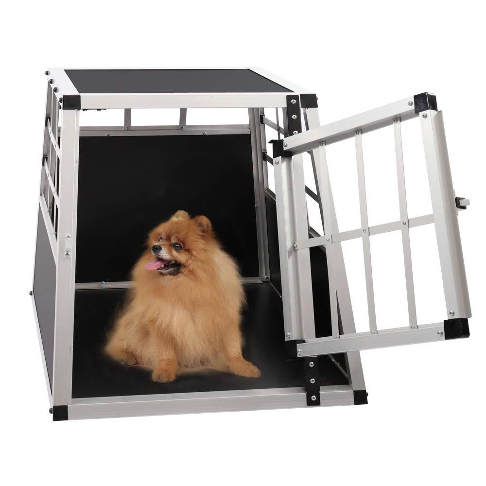 Qivange Heavy Duty Dog Cage Alumium Slopping Puppy Crate Lockable Car Travel Transport Box Pet Carrier Cat Dog Kennel,65cm L x 91cm W x 70cm H