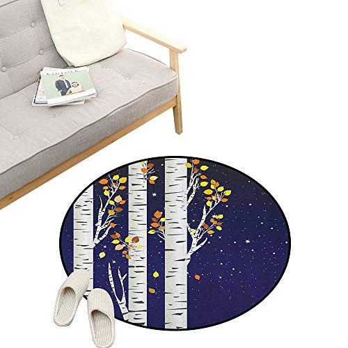 """Autumn Modern Flannel Microfiber ,Birch Trees with Colorful Fall Season Foliage Leaves on a Starry Night Sky Backdrop, Round Rug Living Room Bedroom Decor 31"""" inch Multicolor"""