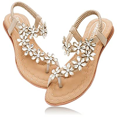 YALLET Women Sandals Flats,T-Strap Buckle Summer Girls Shoes with Crystal Bohemian Rhinestone Wedding