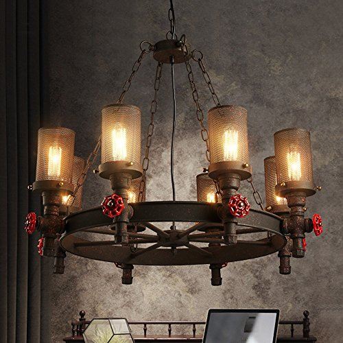 Baycher American Retro Six Heads Iron Water Pipe Chandelier Vintage Industrial Iron Lampshade Red Valve Decorations Eight Heads Iron Rust Ceiling Pendant Lamp (Size : Eight heads) (Red Beaded Shade Table Lamp)