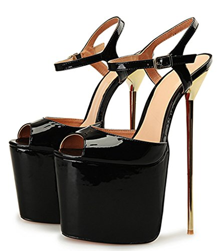Platform Snadals Strap Black CAMSSOO Thin Women's Toe Sexy Heels Ankle Shoes Extreme Peep 0vYqUw0