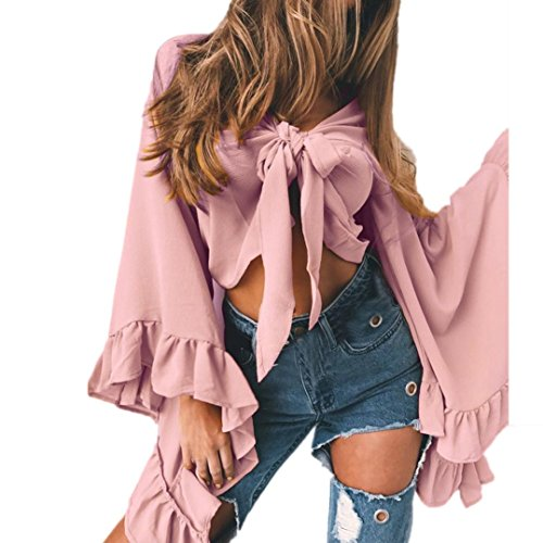 Women Sexy V Neck Long Bell Sleeve Bow Tie Front Crop Top Cardigan T-Shirt Shawl Shrug (L, Pink)