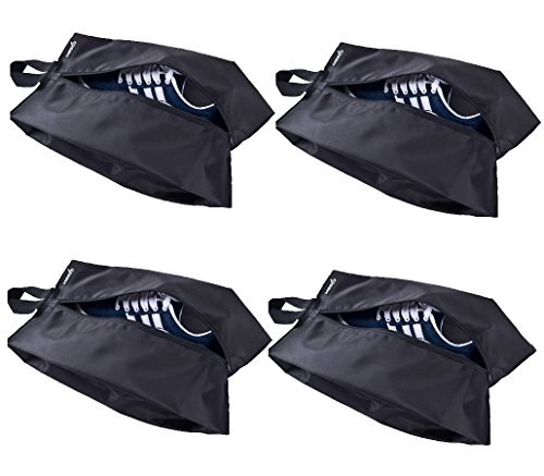MISSLO Portable Nylon Travel Shoe Bags with Zipper Closure (Pack 4, Black) by MISSLO (Image #1)