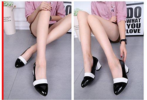 Abby 6691 Pompes De Danse Moderne Des Femmes Chunky Talon Bout Rond Slip-on Bateau Pu Sneakers Noir