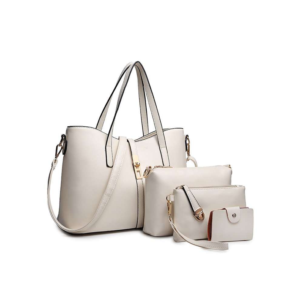35eca54649 SIFINI Women Fashion PU Leather Handbag+Shoulder Bag+Purse+Card Holder 4pcs  Set Tote Bag (beige)  Amazon.co.uk  Luggage