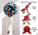 TEAL BLUE BROWN WEDDING 8'' PULL PEW BOW BRIDAL SHOWER