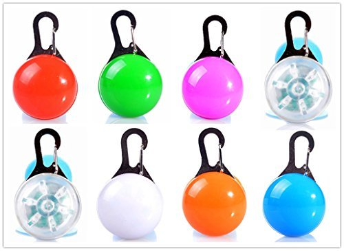 TLT LED Clip-on Safety Light Colorful Collar Light Keychain Light LED027, Pack of 8, Assorted (Dog Flashlight)