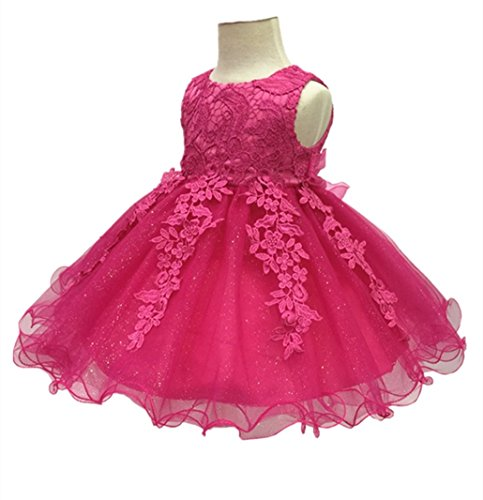 H.X Baby Girl's Lace Gauze Christening Baptism Wedding Dress with Petticoat (24M/Fit 18-24 months, Rose (Baby Girl Party Dresses)