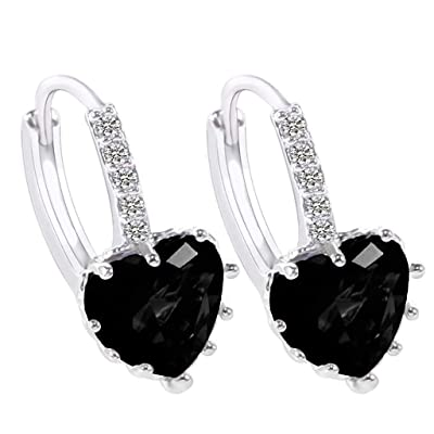 Gahrchian Rhinestones Earrings Stud Swarovski Crystal Pendant Earrings Stud for Women and Girls Gift Jewelry (Black): Clothing