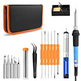 Welding Soldering Iron, ONEVER Soldering Iron Kit 60W 110V-Adjustable Temperature Welding Soldering Iron with PU Carry Bag 8-in-1 Full Kit