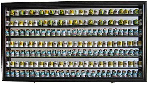 Large 189 Thimble Display Case Cabinet Wall Shadow Box, with Mirrored Back Mahogany Finish