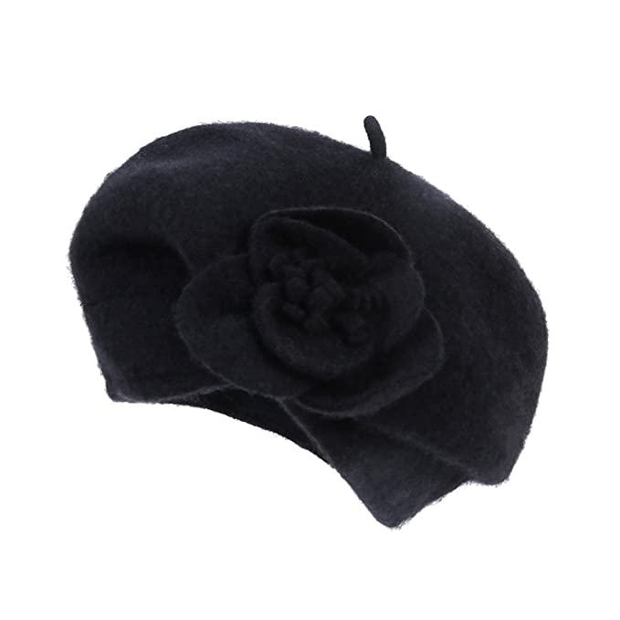 Dantiya Women s 100% Wool Cloche Hat Bucket Floral Winter Vintage Beret Beanie  Hat (One d1557a939011