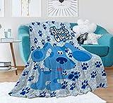 EVA GIBBONS Flannel Blanket Blue Dog Covers Throw