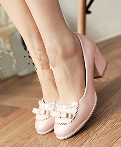 Aisun Womens Sweet Beaded Round Toe Low Tops Dressy Block Kitten Heels Pumps Slip On Shoes With Bows Pink Qtsrdx