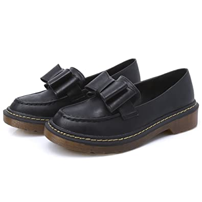 Women's Flats Shoes Soft Round Toe Low Thick Heel With Sweet Bow-Knot