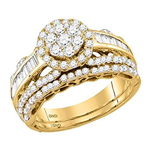 Womens 14K Yellow Gold Flower Cluster Real Diamond Engagement Ring 1 1/2 CT
