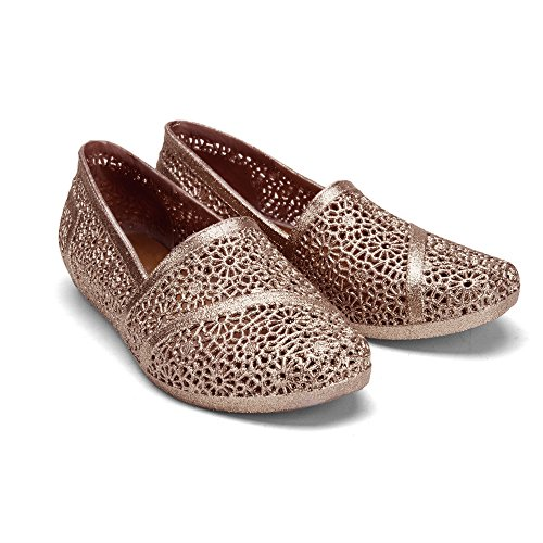Chemistry Y502 Womens Glittered Easy Zig Zag Weaving Woven Bird Nest Mesh Cozy Candy Slip-on Jelly Ballet Sandal Flat (8 B(M) US, Brown)
