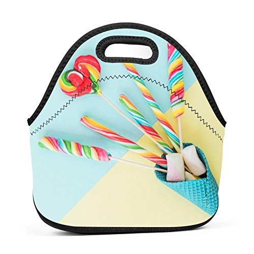 Candy Lollipop Sweets Lunch Bag Portable Bento Pouch Lunchbox Baby Bag Multifunction Satchel Tote for Student Worker Travel Mummy (Lollipop Diaper)