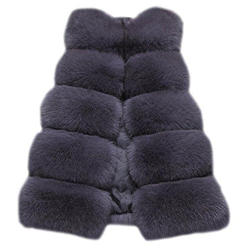 Vtement Grey Veste Manche Gilet Gilet Dark Faux Fur Slim Vest Sans Femmes Long Chaud O4qxUwRInZ