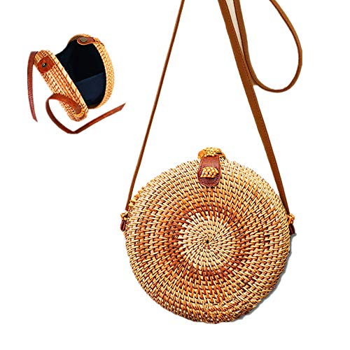 Surfin Round Straw Rattan Woven Womens Bali Beach handle Bag Vintage Crossbody with Snap Clasp