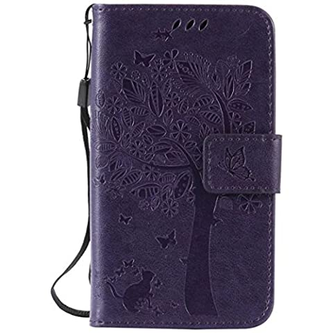 G386F Case, Galaxy Avant G386 Case, Love Sound [Cat Tree Butterfly/Purple] [Wrist Strap] Luxury PU Leather Wallet Case Flip Cover Built-in Card Slots Stand for Samsung Galaxy Core LTE 4G (Samsung Galaxy Core Lte Case G386)