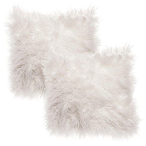 Chanasya Soft Shaggy Fuzzy Fur Long Mangolian Faux Fur Cozy Elegant Chic Decorative White Throw Pillow Cover Pillow Sham- White 2-Pack Throw Pillowcase 18x18 Inches (Pillow Insert Not Included)