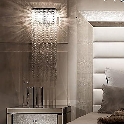 Moooni Elegant Crystal Wall Sconces Lighting Long Pendant Modern lighting Fixture for Bedroom Living Room Chrome