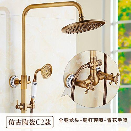 G Hlluya Professional Sink Mixer Tap Kitchen Faucet All copper antique shower, hot and cold valve faucet handheld sprinkler riser shower large shower kit,N