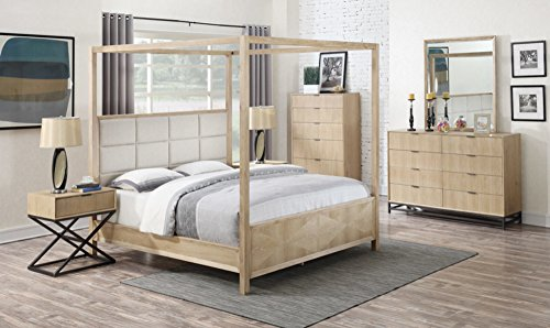 Poster 4 Oak Bed (Emerald Home Aden White Oak and Charcoal Gray Bed with Upholstered Headboard Panel And Stitching Detail, Queen)